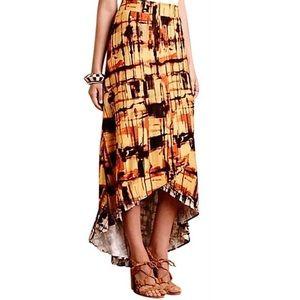 Anthropologie Sunlit Plaid High Low Midi Skirt